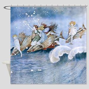 Vintage Sea Fairies Kids Shower Curtain
