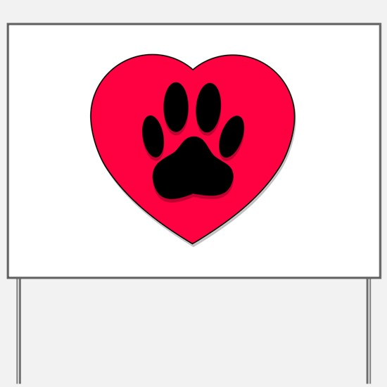 Red Heart With Dog Paw Print Yard Sign