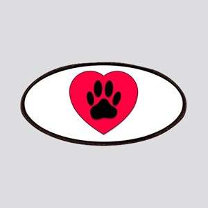 Red Heart With Dog Paw Print Patches