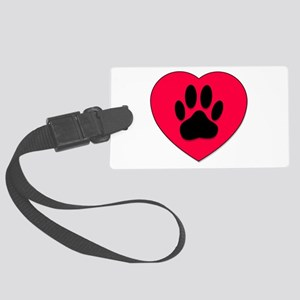 Red Heart With Dog Paw Print Large Luggage Tag