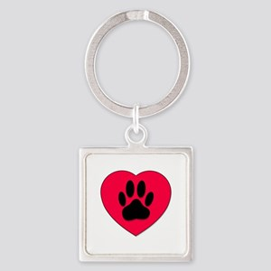 Red Heart With Dog Paw Print Keychains