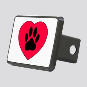 Red Heart With Dog Paw Pri Rectangular Hitch Cover