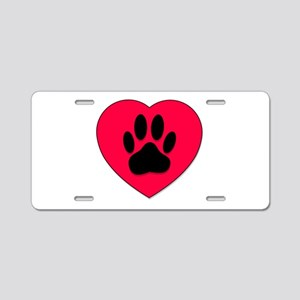 Red Heart With Dog Paw Prin Aluminum License Plate