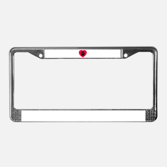 Red Heart With Dog Paw Print License Plate Frame