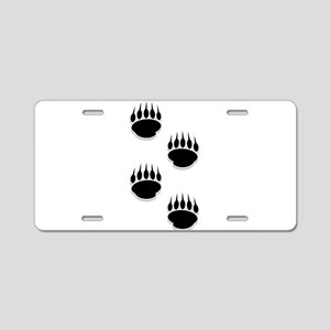 Black Bear Paw Prints Aluminum License Plate