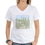 Many Saguaros Recreated Women's V-Neck T-Shirt