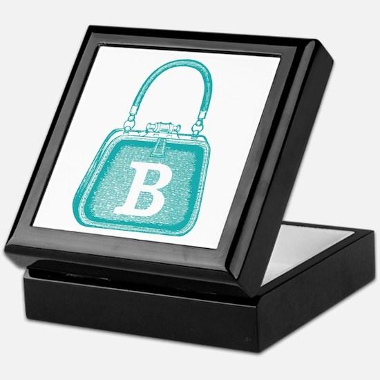 MONOGRAM Vintage Purse Blue Graphic Keepsake Box