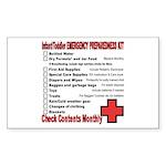 INFANT/TODDLER Emergency Preparation Sticker (Rect