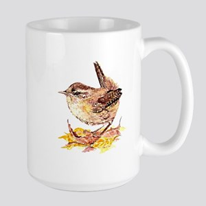 Watercolor Cute Wren Bird Art in Fall or Autumn Le