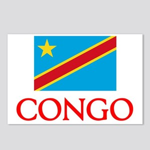 Congo Flag Design Postcards (Package of 8)