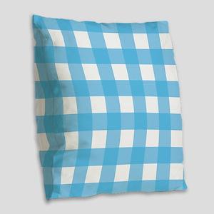Gingham Blue Checks Burlap Throw Pillow