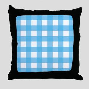 Gingham Blue Checks Throw Pillow