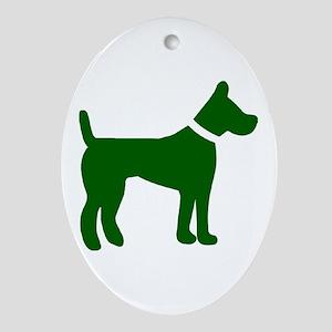 dog green 1C Ornament (Oval)