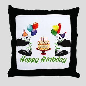 Birthday Pandas Throw Pillow