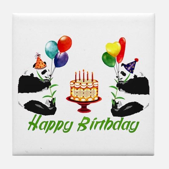 Birthday Pandas Tile Coaster