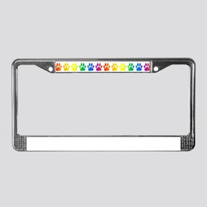 Rainbow Paws Pattern License Plate Frame