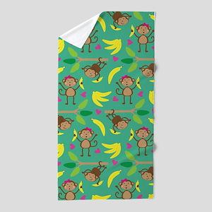 Boy and Girl Monkeys Beach Towel