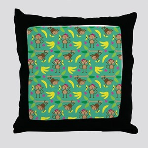 Boy and Girl Monkeys Throw Pillow