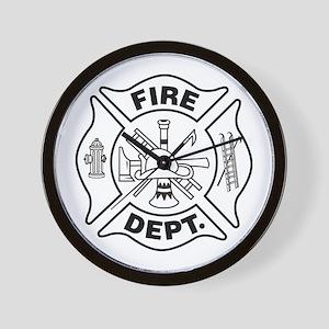 FIREFIGHTER MALTESE CROSS B & W - Wall Clock