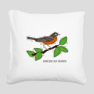 robin Square Canvas Pillow