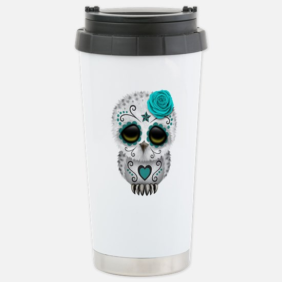 Cute Teal Blue Day of the Dead Sugar Skull Owl Mug