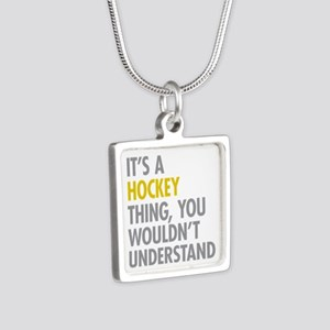 Its A Hockey Thing Silver Square Necklace