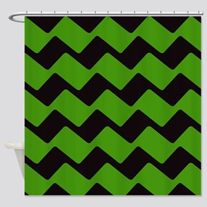 Racer Black and Green Chevron Shower Curtain