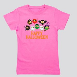Halloween Owls in Costume Girl's Tee