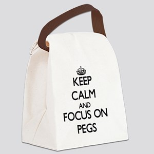 Keep Calm and focus on Pegs Canvas Lunch Bag
