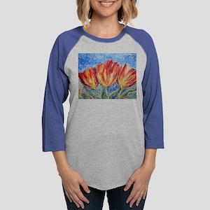 Colorful tulips, flower art Womens Baseball Tee