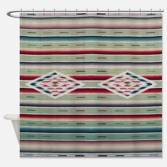 Southwest Green Saltillo Shower Curtain