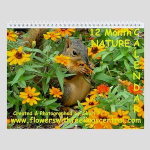 3774 Squirrel In Marigolds Wall Calendar