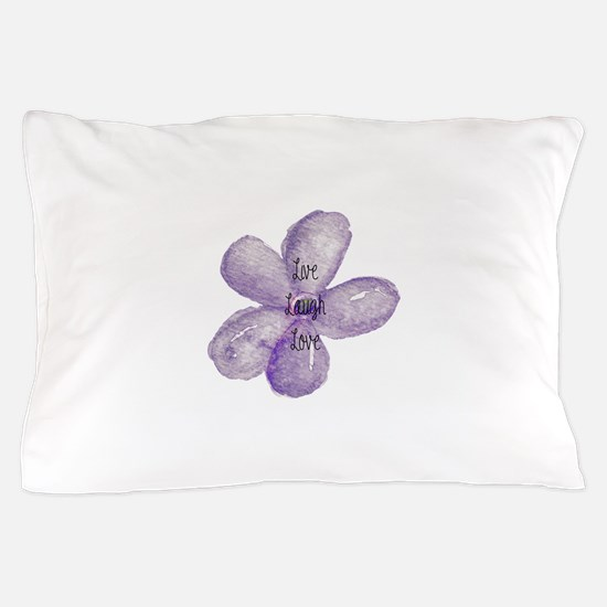 Live, Laugh, Love Watercolor Flower Pillow Case