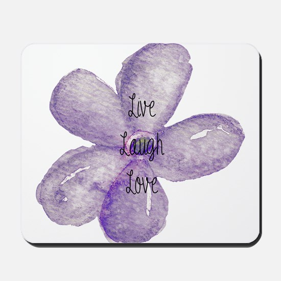 Live, Laugh, Love Watercolor Flower Mousepad