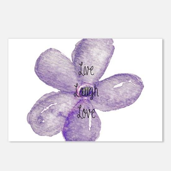 Live, Laugh, Love Watercolor Flower Postcards (Pac