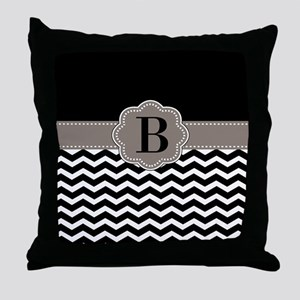 Black Chevron Monogram Throw Pillow