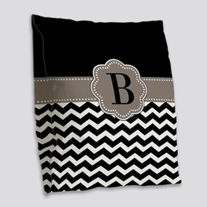 Black Chevron Monogram Burlap Throw Pillow