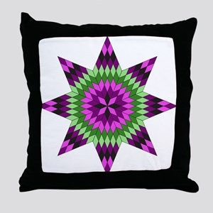 Native Purple Star Throw Pillow