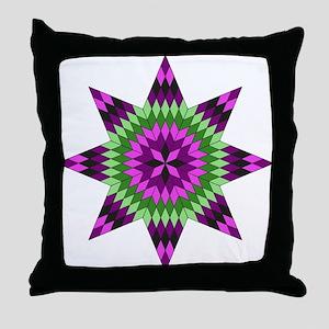 Native Purple Star Throw Pillow