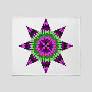 Native Purple Star Throw Blanket