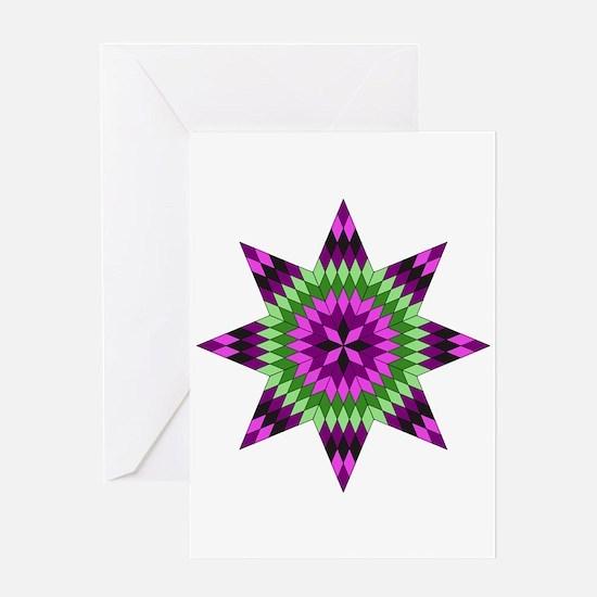 Native Purple Star Greeting Cards
