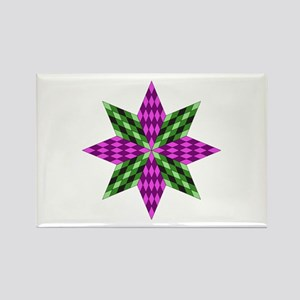 Purple and Green Star Rectangle Magnet