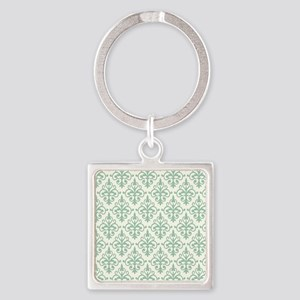 Hemlock & Cream Damask 41 Square Keychain