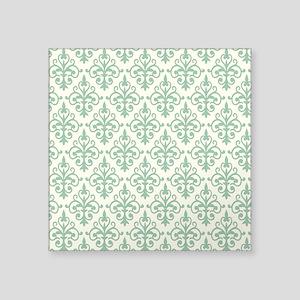 "Hemlock & Cream Damask 41 Square Sticker 3"" x 3"""