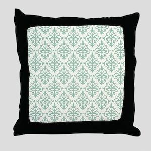 Hemlock & Cream Damask 41 Throw Pillow