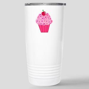 Pink Confetti Cupcake Stainless Steel Travel Mug