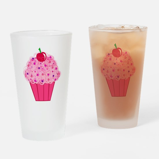 Pink Confetti Cupcake Drinking Glass