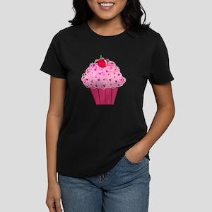 Pink Confetti Cupcake Women's Dark T-Shirt