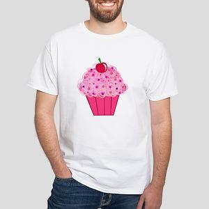 Pink Confetti Cupcake White T-Shirt