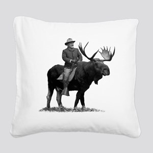 Teddy Roosevelt on Bullmoose Square Canvas Pillow